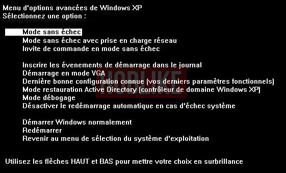 Démarrer en mode sans échec sous Windows