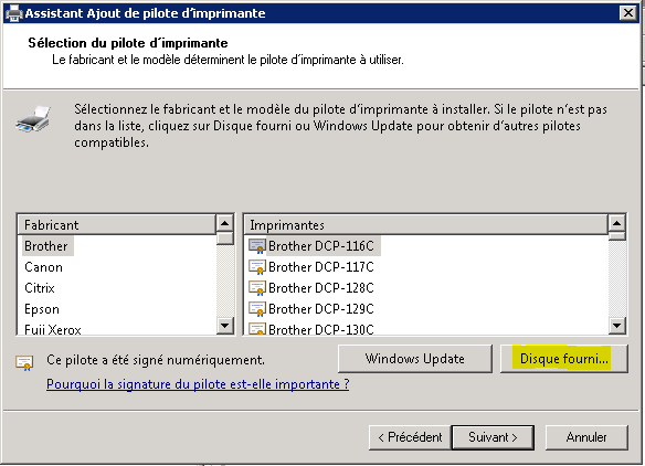 Installation drivers impressions sur TSE/Citrix en 2008 Server R2